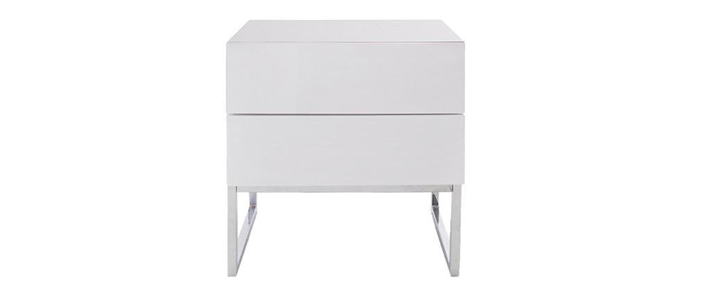 Design-Nachttisch 2 Schubladen weiß glänzend lackiert NYX