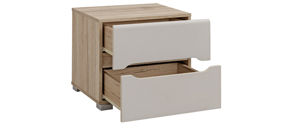 Design-Nachttisch helles Holz Taupe WILLY