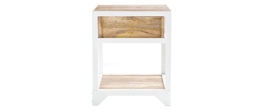 Design-Nachttisch PUKKA aus Mangoholz und weißem Metall