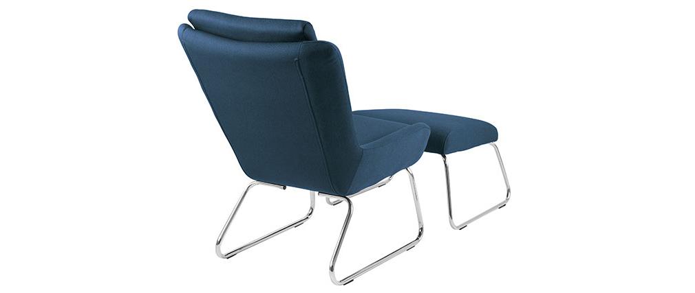 Design-Relax-Sessel mit Fußablage Blau HARPER
