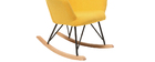 Design-Schaukelstuhl Stoff Gelb Beine Metall und Eiche BABY BRISTOL