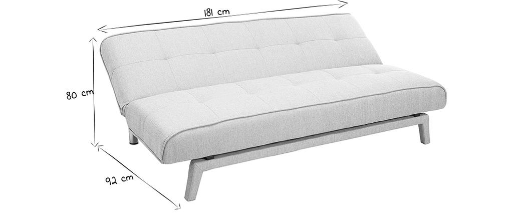 Design-Schlafsofa - 3 Plätze hellgrauer Stoff - BUCK