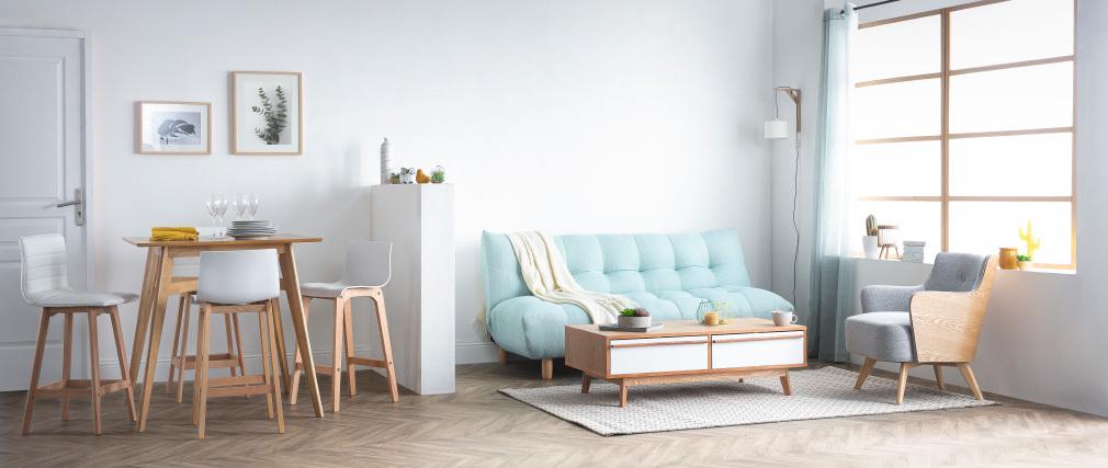 Design-Schlafsofa skandinavisch Grau und Eiche YUMI