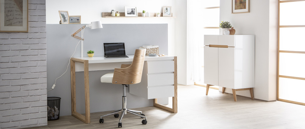 Design-Schreibtisch 3 Schubladen weiß matt ARMEL