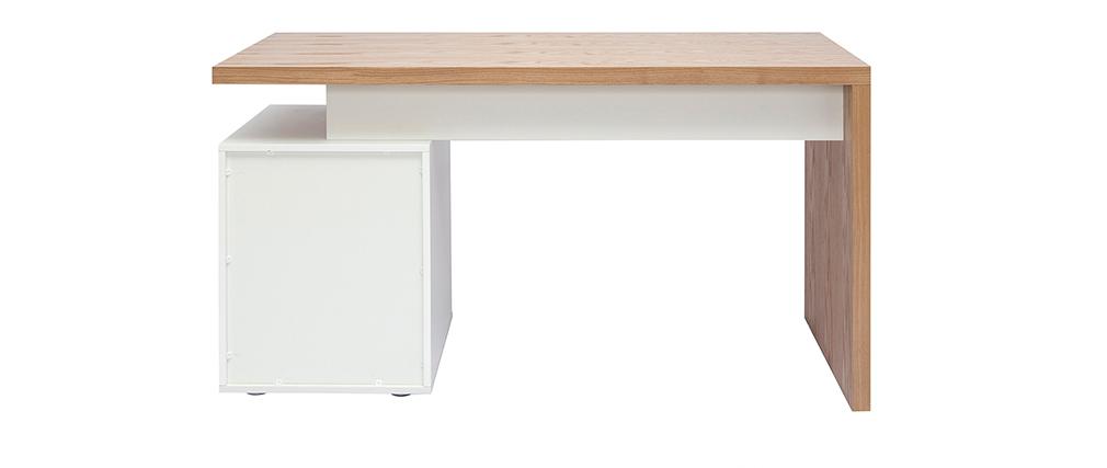 Design-Schreibtisch aus heller Eiche Weiß CALIX