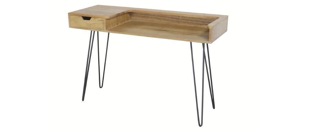 Design-Schreibtisch aus Mangoholz mit Hairpin Legs Metall Schwarz VIBES