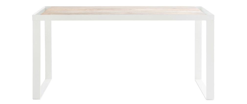 Design-Schreibtisch aus Mangoholz und weißem Metall L150 cm PUKKA