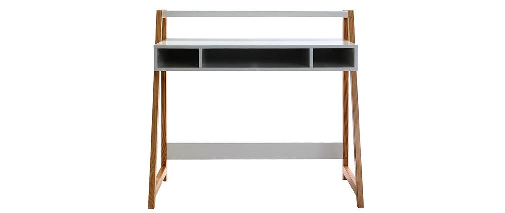 Design-Schreibtisch lackiert Weiß matt und Holz STOKA