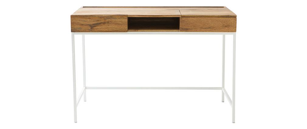 Design-Schreibtisch Mangoholz und Metall Weiß BOHO