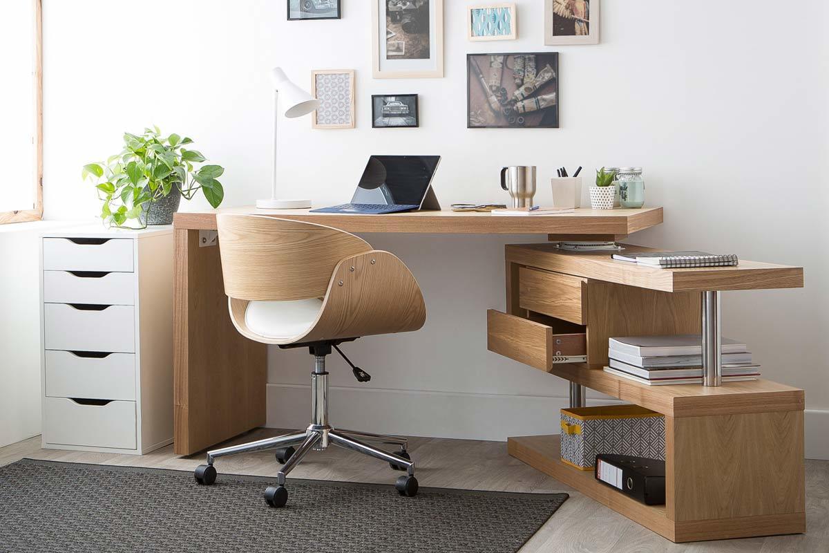Design Schreibtisch Max Holz Abnehmbar Miliboo
