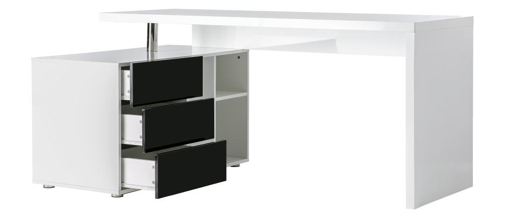 Design-Schreibtisch Maxi Schwarz und Weiß lackiert Ablagen linke Seite