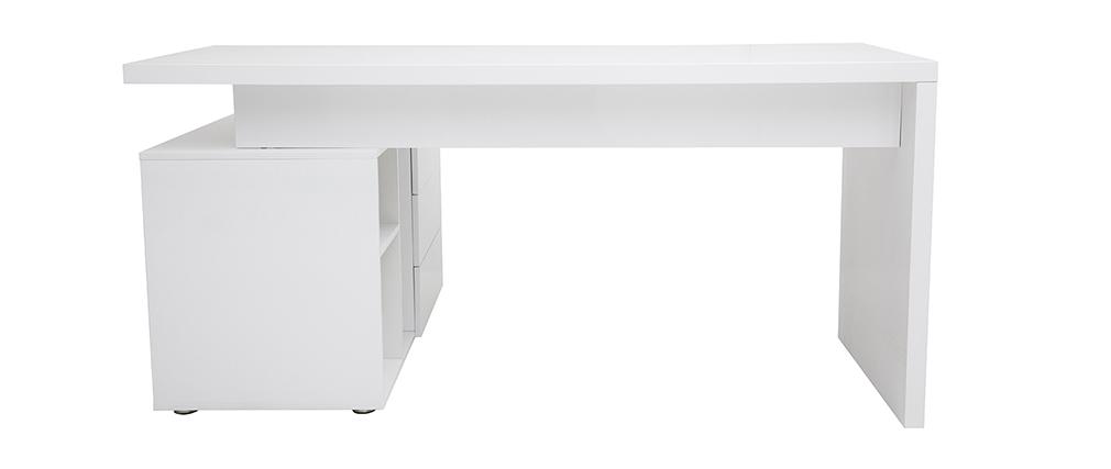 Design-Schreibtisch MAXI Weiß lackiert Ablagen rechte Seite