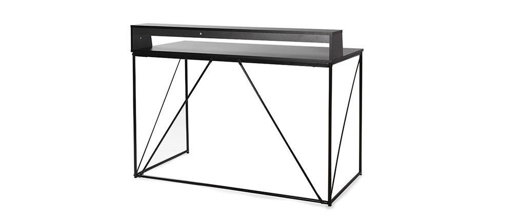 Design-Schreibtisch Metall Grau und Schwarz WALT