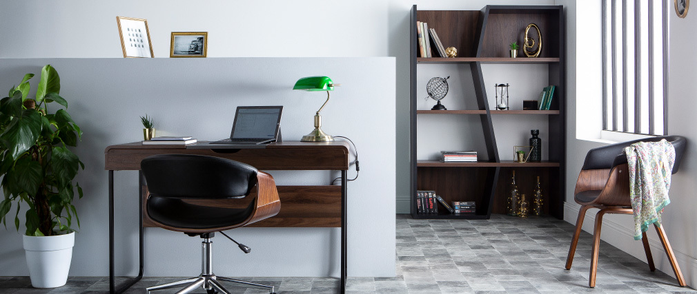 Design-Schreibtisch mit Tischplatte aus Holz und grau QUINT