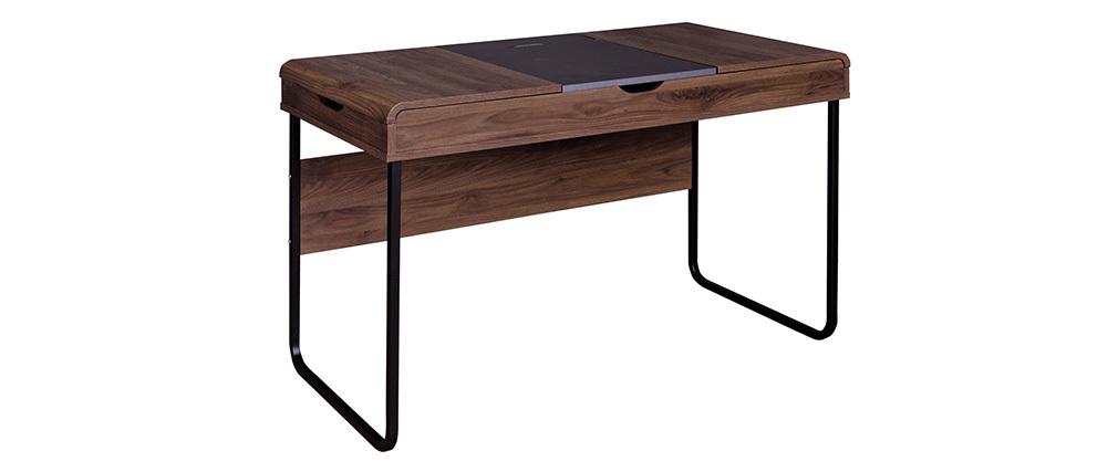 Schreibtisch design holz  Design-Schreibtisch mit Tischplatte aus Holz und grau QUINT - Miliboo
