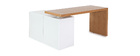 Design-Schreibtisch modulierbar Weiß glänzend und Eschenholz NEW MAX