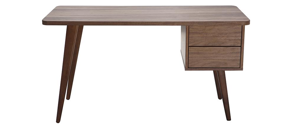 design schreibtisch nussbaum fifties miliboo. Black Bedroom Furniture Sets. Home Design Ideas
