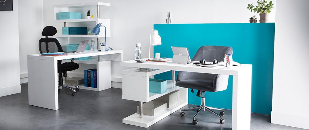 Design-Schreibtisch weiß lackiert MAX abnehmbar