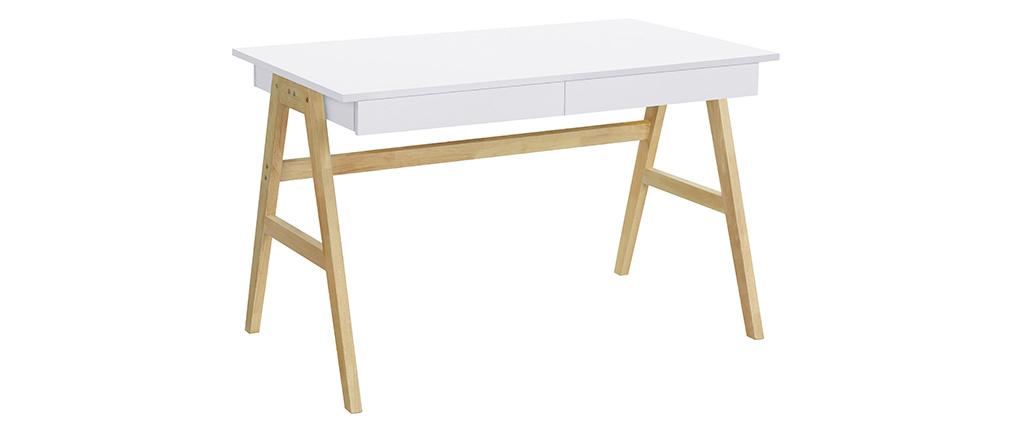 Design-Schreibtisch Weiß und Holz BROOK