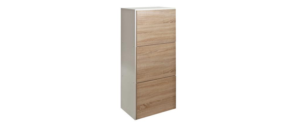Design-Schuhschrank Holz und Weiß 3 Fächer BOBBY
