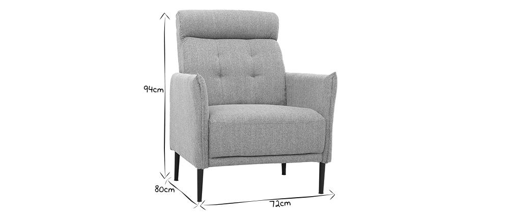 Design-Sessel aus hellgrauem Stoff HIBA