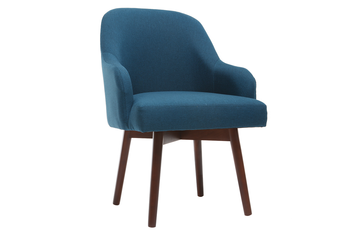 Design-Sessel Blau dunkle Holzbeine MONA