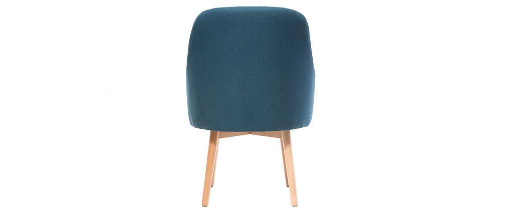 Design-Sessel Blau helle Holzbeine MONA