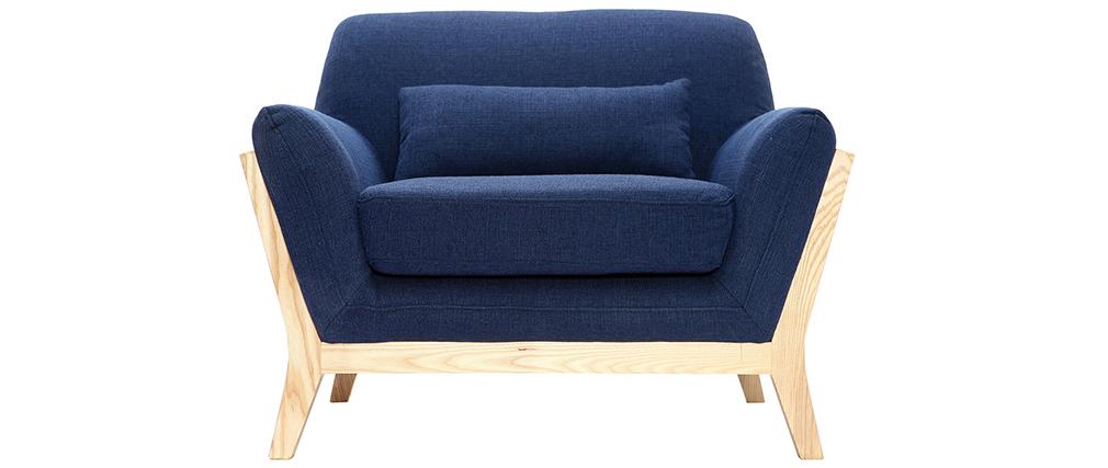 Design-Sessel Dunkelblau und Füße aus Holz YOKO