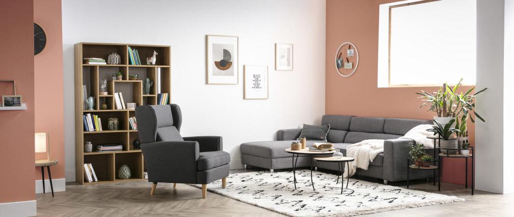 Design-Sessel dunkelgrauer Stoff VIVO