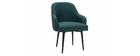 Design-Sessel dunkelgrüner Stoff und Metallbeine Schwarz AMON