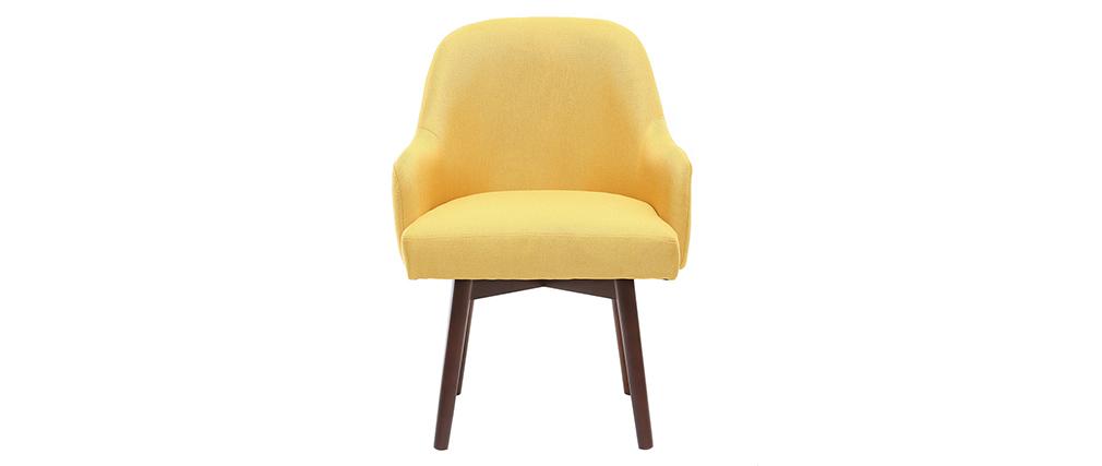 Design-Sessel Gelb dunkle Holzbeine MONA
