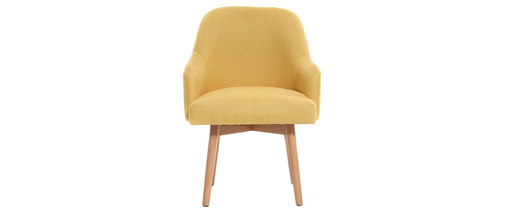 Design-Sessel Gelb helle Holzbeine MONA