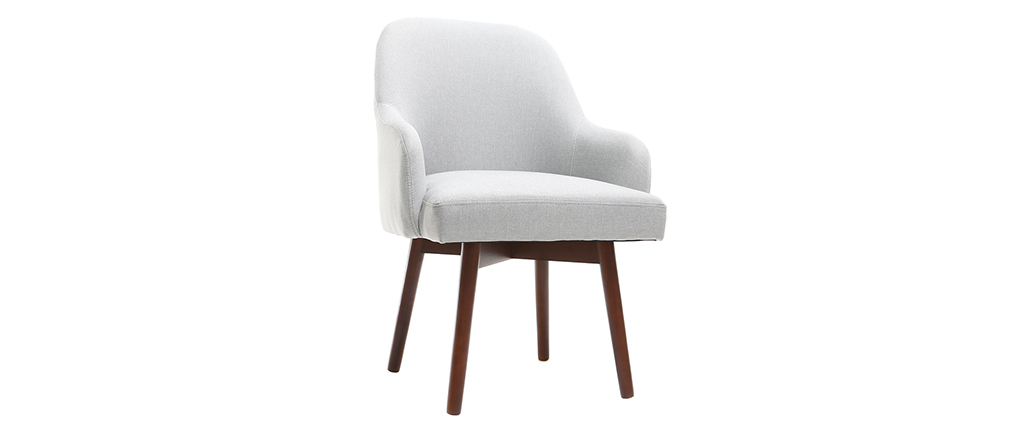 Design-Sessel Grau dunkle Holzbeine MONA