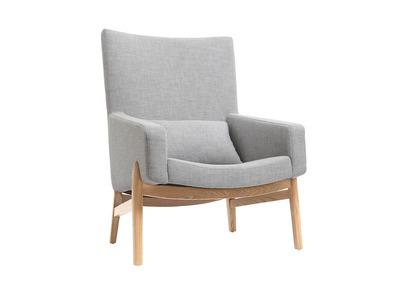 Design-Sessel Grau Holzbeine KYOTO