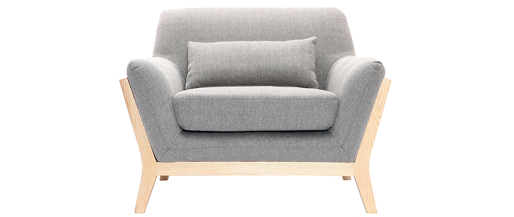 Design-Sessel Grau Holzbeine YOKO