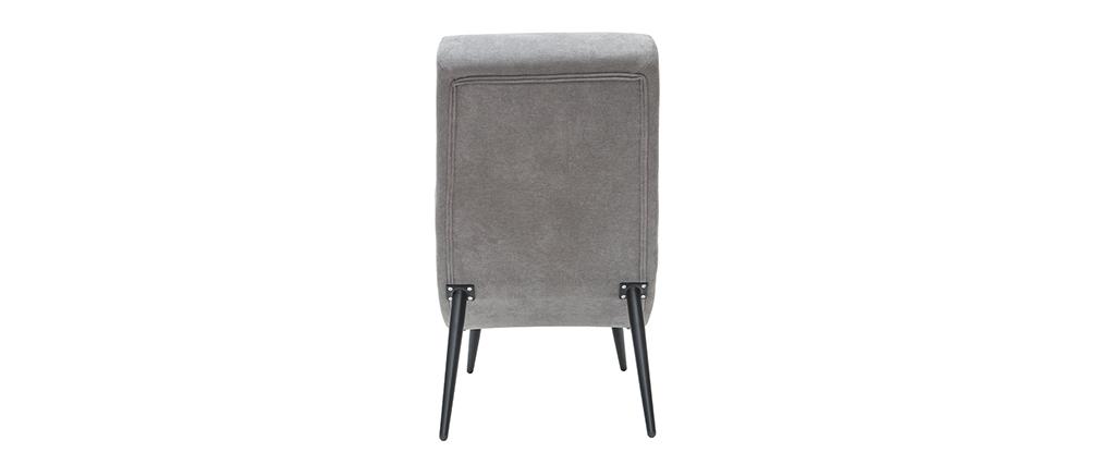 Design-Sessel grauer Samteffekt und schwarzes Metall TAYLOR