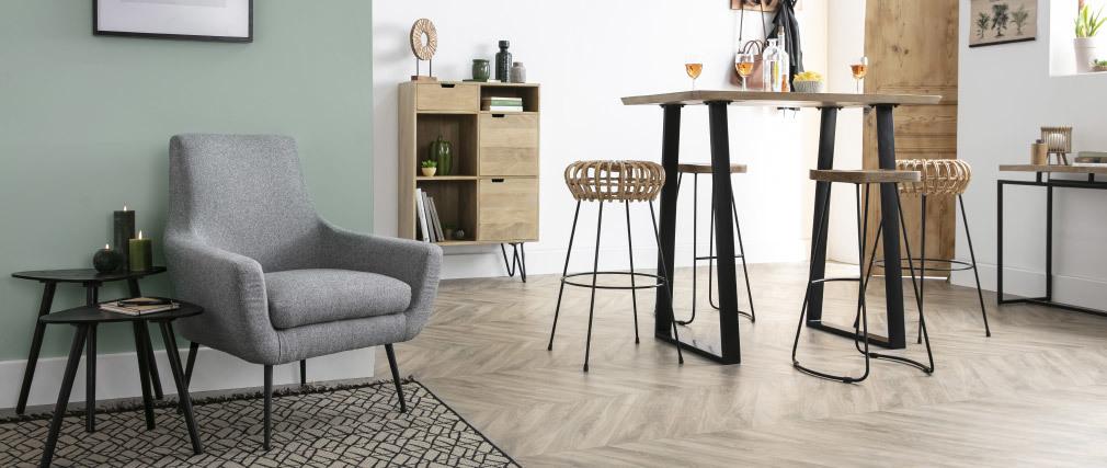 Design-Sessel Hellgrau und schwarzes Metall MONTANA
