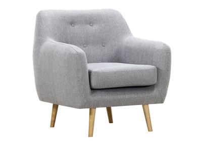 Design-Sessel Holz hell und perlgrauer Stoff OLAF
