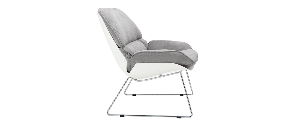 Design-Sessel KOKON aus weißer Schale und grauem Stoff