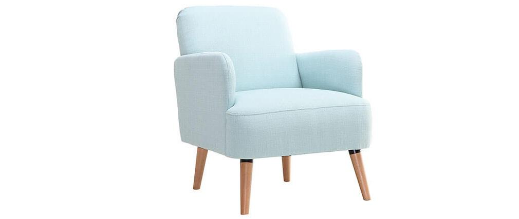 Design-Sessel Minzgrün und Holzbeine ISKO