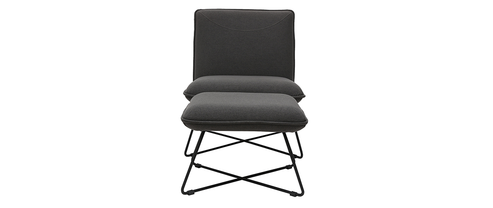 Design-Sessel mit Fußablage Stoff in Dunkelgrau PHILO