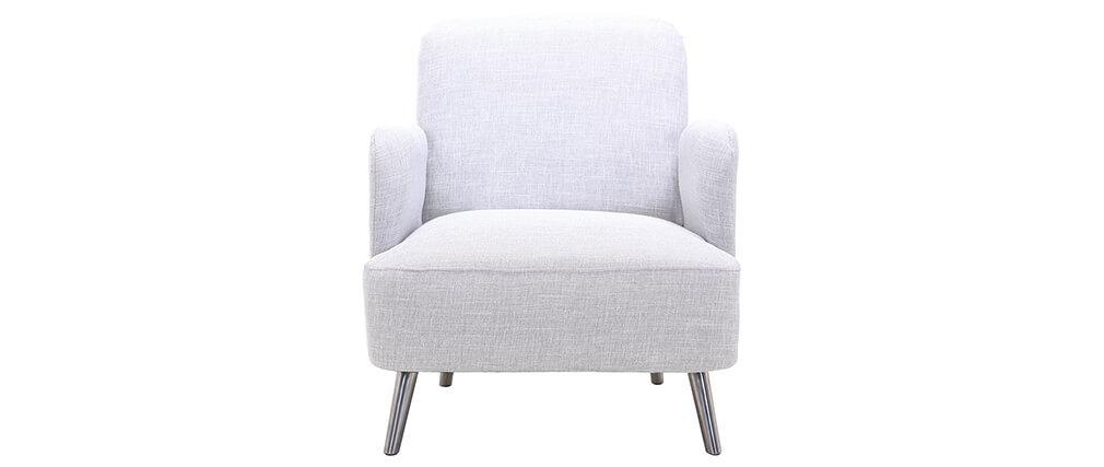 Design-Sessel Perlgrau und Metallbeine BART