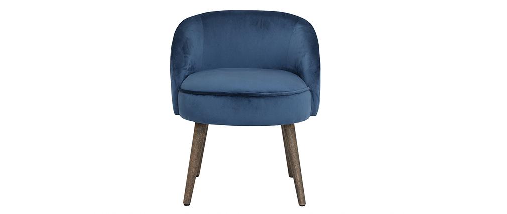 Design-Sessel Samt Blau Holzbeine UTA
