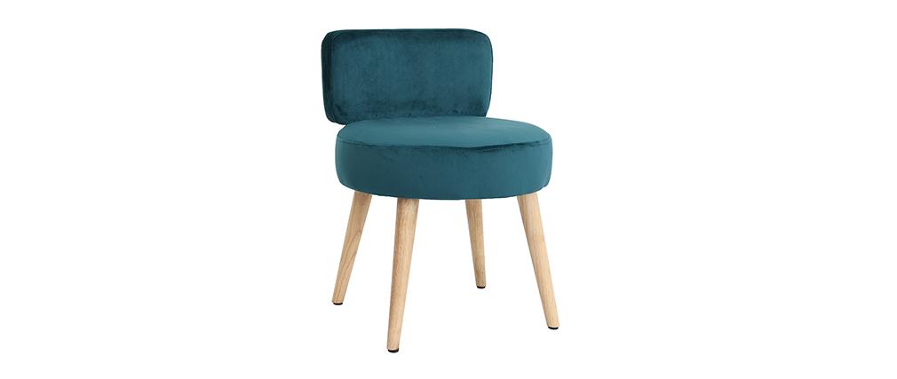 Design-Sessel Samt Blaugrün und Holz CELESTE