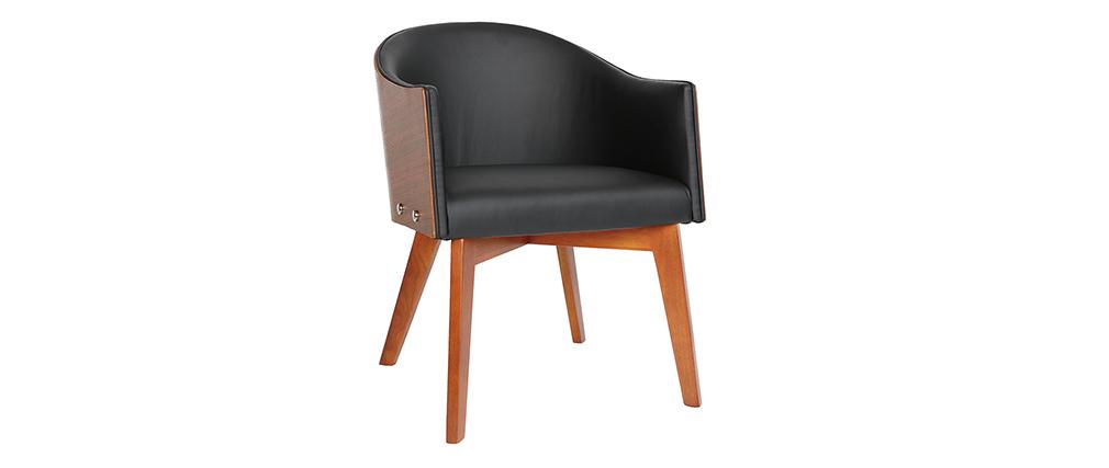 Design-Sessel Schwarz und Nussbaum NORDECO