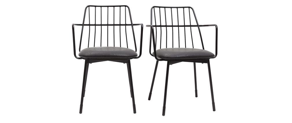 Design-Sessel schwarzes Metall mit Kissen (2er-Set) GRID
