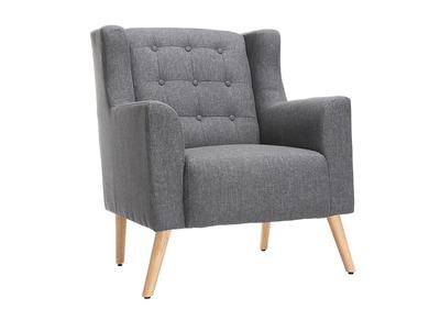 Design-Sessel skandinavisch Dunkelgrau und helles Holz BRIGHTON