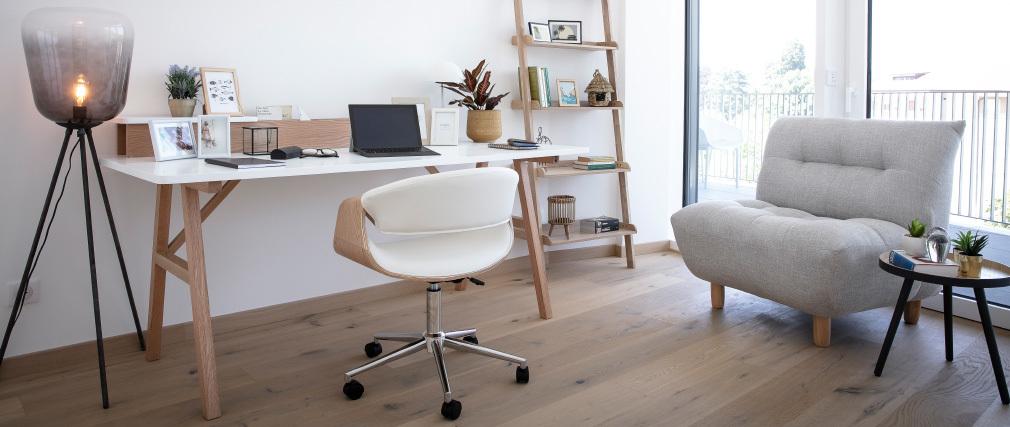 Design-Sessel skandinavisch Grau und Eiche YUMI