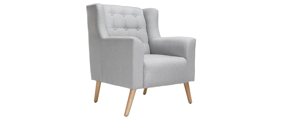 design sessel skandinavisch hellgrau und helles holz. Black Bedroom Furniture Sets. Home Design Ideas