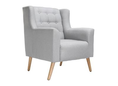 Design-Sessel skandinavisch Hellgrau und helles Holz BRIGHTON